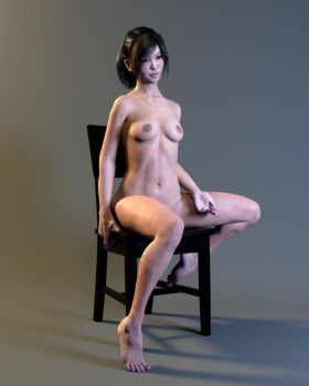 Natsuko BlackHair 01 chair 02 by ruhney71