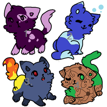 1/4 ELEMENTAL CATS ADOPTABLES by ParagonPalace