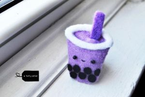 Needle felted bubble tea by FluffyParcel