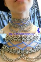 Chain Maille Victorian Lace Collar by jesterbells