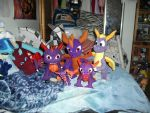 all the spyro plushies i have in my collection by legendarydragonstar