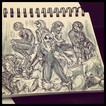 Spidey Group and Captain Sketch by Inuranma44
