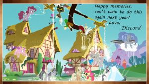 Discord's Memories of Ponyville Wallpaper by Tom-The-Rock