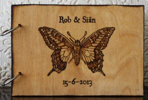 Butterfly, custom wedding guest book by llinosevans