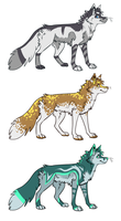Three fox adopts by Amathaze