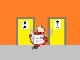 Mr Rude outside the Station Toilet by Dalek44