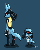 Lucario and Riolu by Budgies