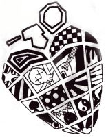 Heart Grenade B and W by CurlyRainbows