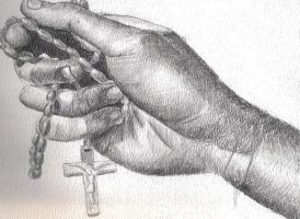 Hand Clutching Rosary by thesunshotme