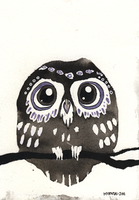 Tiny ink owl by Myrntai