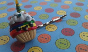 Rainbow Birthday Cupcake Bobby Pin by Gynecology