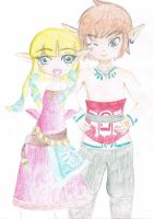 Zelda and Link by BiZeldaskywardsword