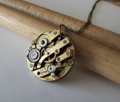 Round Steampunk Necklace by FantasyDesigns1