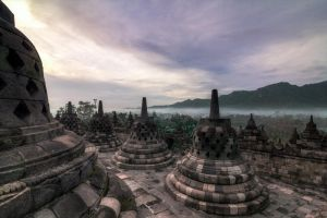 Sunrise at Borobodur Temple by Noah0207