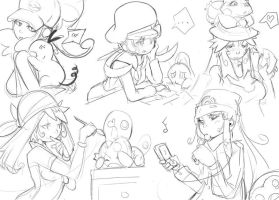 pokemon trainers sketch by sho-N-D