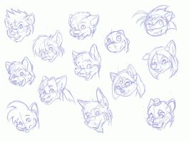 Anthro heads sketch by SplashSilver