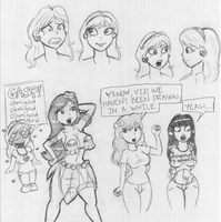 Sketch Sheet - With Di, Amy, Vi and HG! by MDFive-Art