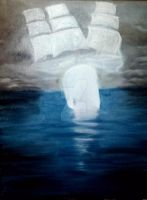 Moby Dick Whale Cloud Ship Dream Acrylic Painting by nandamicole