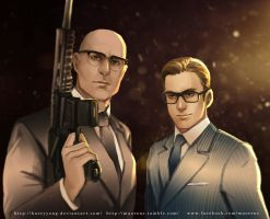 Kingsman Eggsy and Merlin by maorenc