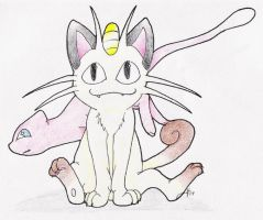 Meowth and Mew by anime-fan-addict