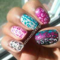 Pink, Blue, Black, and Cream Leopard Print by FatimattiDesigns