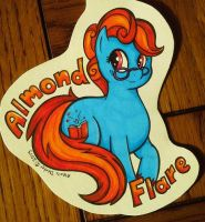 MLP Conbadge - Almond Flare Commission by Sparkle-And-Sunshine