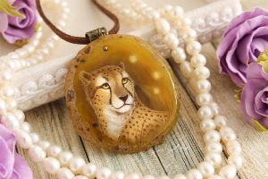 Cheetah - handmade painted stone pendant by LunarFerns