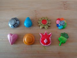 Pokemon Kanto League Badges by LoekazCharms