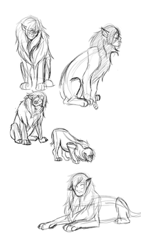 Sphinxes - Figure drawings by WhenWolvesCryOut