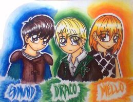Edmund, Draco, and Mello by Snappedragon