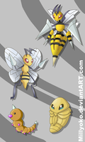Weedle, Kakuna, Beedrill and Mega Beedrill by Millyoko