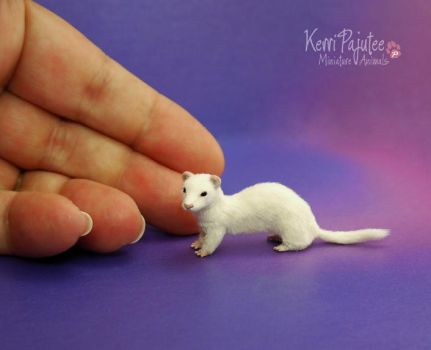 Miniature Ferret Sculpture by Pajutee