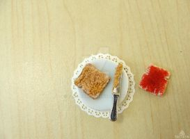 1/12 Miniature Toasts with Peanut Butter and Jam by Tristatin