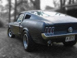 Fastback Mustang on Canvas by retro-pixel