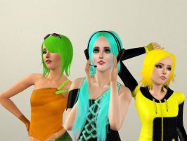 Miku, Gumi and Rin Sims 3 Style (Close up) by dogzrule2468