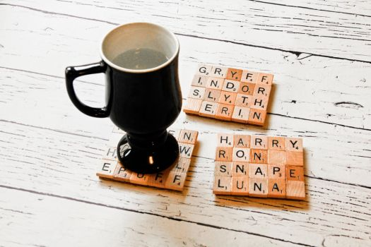 Upcycled Wooden Harry Potter Coasters by 3direwolfmoon