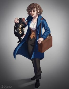 Gender Bender Newt Scamander by merkerinn