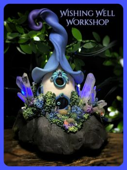 Polymer Clay Glowing Fairy House with Crystals by missfinearts