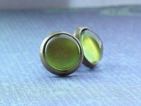 Little Olive Green Studs by janimie