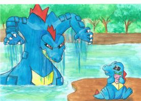 Totodile and Feraligatr by voxor
