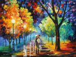 NIGHT ALLEY by Leonid Afremov by Leonidafremov