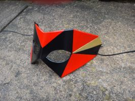 Geometric leather mask - Black, Red and Gold by Masktastic