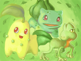 Grass-type Starters by kGoggles