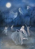 Faeries of the night dancing on ice by BasakTinli