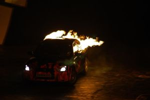 Flaming Car by Taking-St0ck