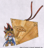 Sennen Puzzle and Chibi Atem by SamCyberCat