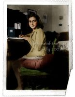 Anne Frank writing by VelkokneznaMaria
