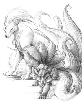 vulpix and ninetails by hibbary