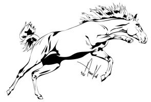 Horse Outline -- Three by Anaeo-vale