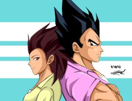 Articha and Vegeta by Kira09kj
